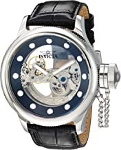 Invicta Men's Russian Diver Stainless Steel Automatic-self-Wind Watch with Leather Calfskin Strap, Black 25.5