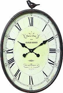 Creative Co-op Oval Metal Wall Clock with Bird