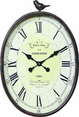 Amazon Com Stratton Home Decor Shd0009 Antique Oval Clock 10 75 W X 2 25 D X 19 25 H Gunmetal Home Kitchen
