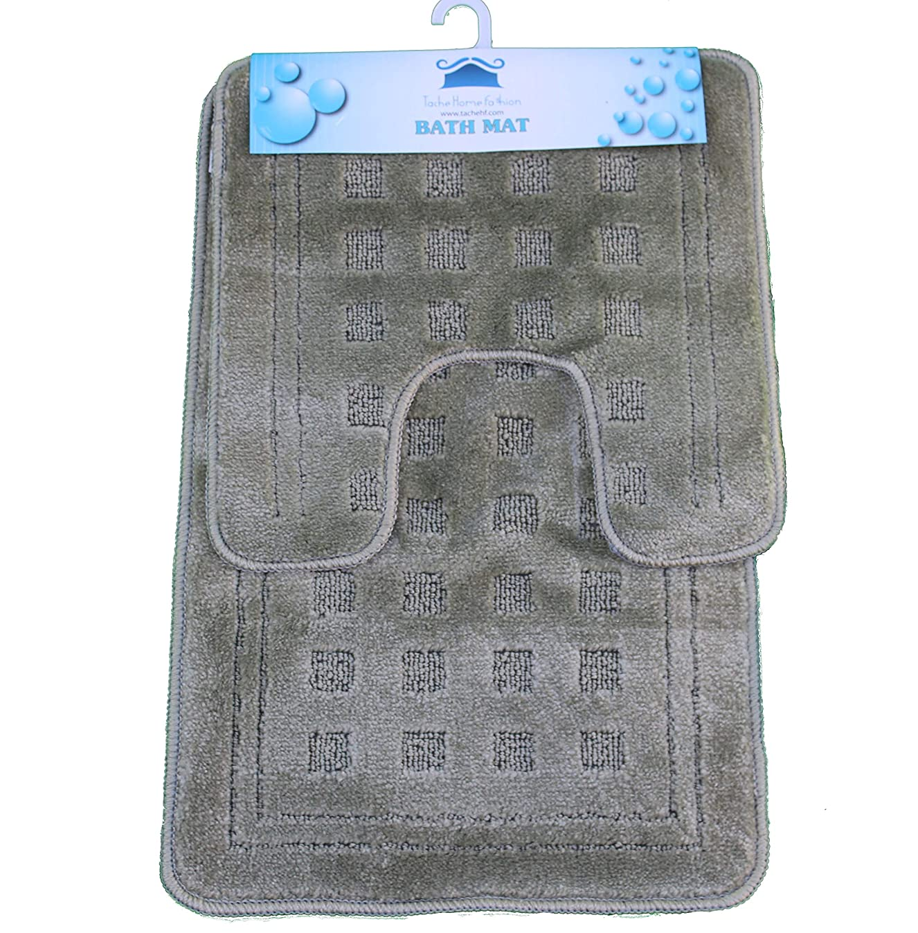 Tache 2 Piece Solid Green Bathroom Rug with U Shaped Contoured Toilet Mat Set