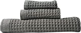 Nutrl Home Waffle Weave Bath Towel Set - Antimicrobial 100% Supima Cotton (Grey) Premium Luxury Bath, Hand, Washcloth Towels Perfect for Hotels, Travel, Bathrooms, Spa, and Gym