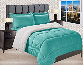 Elegant Comfort Premium Quality Heavy Weight Micromink Sherpa-Backing Reversible Down Alternative Micro-Suede 3-Piece Comforter Set, King, Solid Turquoise