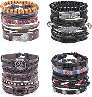 20Pcs Braided Leather Bracelets for Men Wrist Band Bracelet Set Adjustable Length