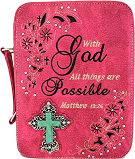 Western Style Bling Rhinestone Cross Country Women`s Bible Cover Books Case Removable Strap Messenger Bag