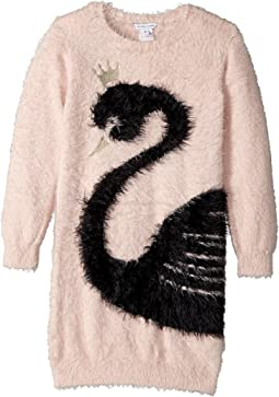 Little Marc Jacobs - Knitted Swan Illustration Long Sleeve Dress (Little Kids/Big Kids)