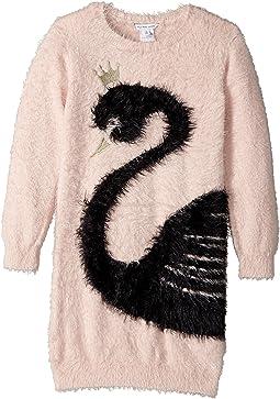 Little Marc Jacobs - Knitted Swan Illustration Long Sleeve Dress (Little Kids/Big Kids)