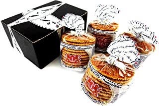 Verweij 100% Roomboter Siroopwafels (Butter Stroopwafels), 10.6 oz Packages in a BlackTie Box (Pack of 4)