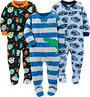 Simple Joys by Carter`s Baby 3-Pack Loose Fit Flame Resistant Fleece Footed Pajamas