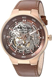 Men's Stainless Steel Automatic-self-Wind Watch with Leather Calfskin Strap, Brown, 24 (Model: 10030824)