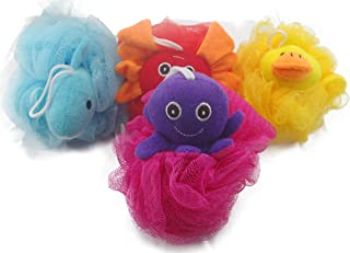 "Loofah Exfoliating Shower Stuffed Sponge Pouf Mesh Brush With Animal Toys - Bath Spa Puff Scrubber Ball - Body poof Cleaner For Children Kids - Rich Foams Bubble(4.7"" each) Pack of 4"