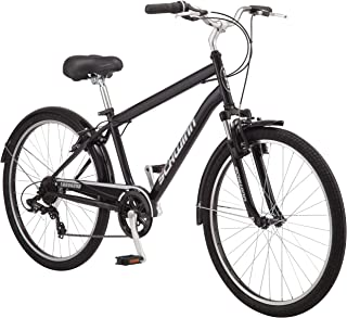 Schwinn Suburban Comfort Hybrid Bike, Featuring Step-Over Steel Frame and 7-Speed Drivetrain with 26-Inch Wheels, Medium/18-Inch Frame, Black/White