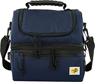 Brick Navy Blue Lunch Box Insulated Lunch Bag Large Cooler Tote Bag for Men, Women, Double Deck Cooler Bottle Opener Utility