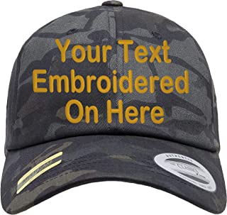 Custom Text Embroidered On Yupoong Multicam Low Profile Soft Twill Dad Hat Camo