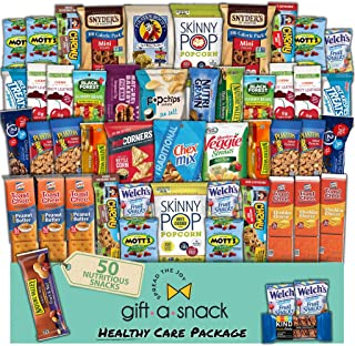 Healthy Snack Box Variety Pack (50 Count) Fathers Day Gift Basket - Graduation 2021 College Student Care Package, Crave Fo...