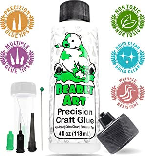 Bearly Art Precision Craft Glue 4fl oz- Dries Clear - Non-Toxic - Metal Tip - Multiple Size Tips Included - Wrinkle Resistant - Flexible and Crack Resistant - Strong Hold Designed Tough