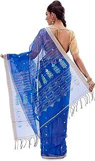 SareesofBengal Women's Handloom Muslin Silk Dhakai Jamdani Saree Blue