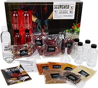 Thoughtfully Gifts, DIY Hot Sauce Making Kit, Includes 4 Glass Bottles, Distilled White Vinegar, 2 Funnels, 2 Sets of Glov...