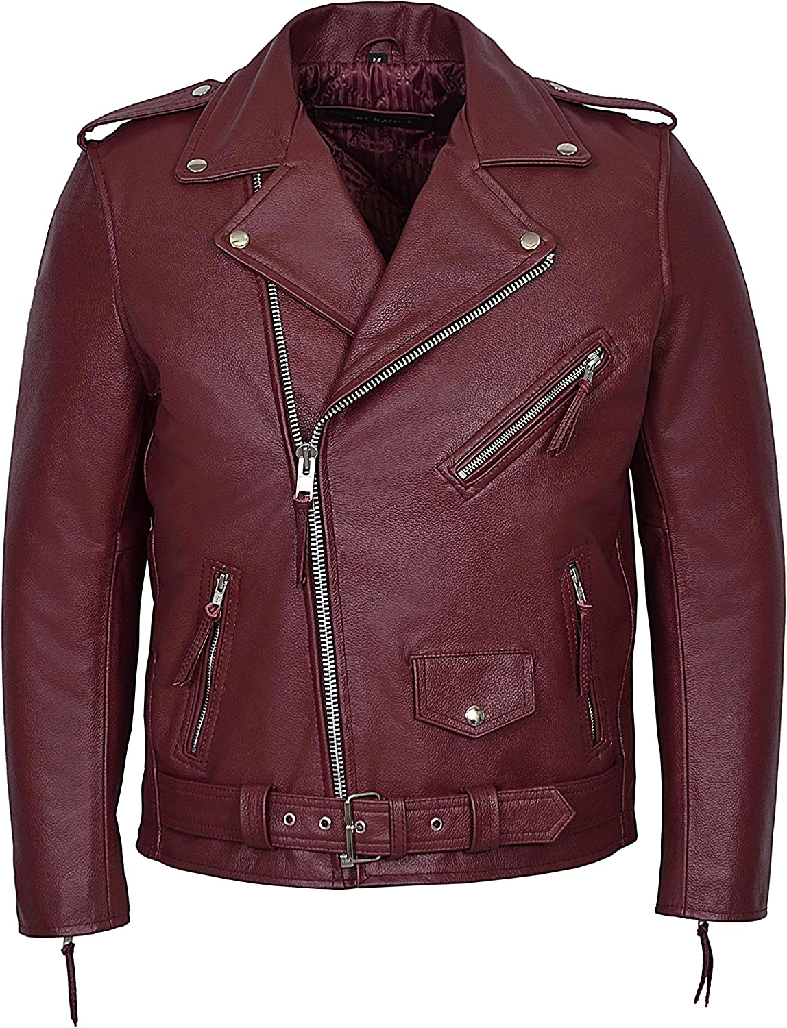Brando Cherry Red' Men's Classic Design Motorcycle Biker Cowhide Real Leather Jacket MBF