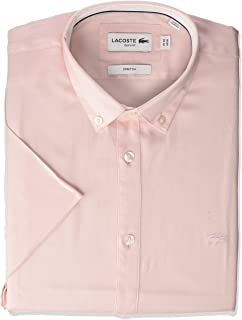 Lacoste Men's Short Sleeve Solid Stretch Pinpoint Collar Slim Fit Woven Shirt