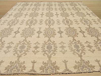 EORC SHT24IV Hand Knotted Wool Mono Rug, 9' x 12', Ivory