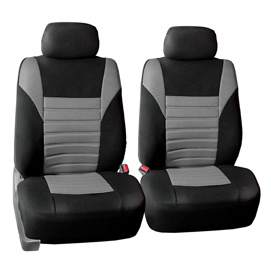 FH Group FB068102 Premium 3D Air Mesh Seat Covers Pair Set (Airbag Compatible), Gray/Black Color- Fit Most Car, Truck, Suv, or Van