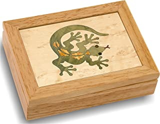 Wood Art Gecko Box - Handmade USA - Unmatched Quality - Unique, No Two are The Same - Original Work of Wood Art. A Gecko Gift, Ring, Trinket or Wood Jewelry Box (#4125 Gecko Lizard 4x5x1.5)