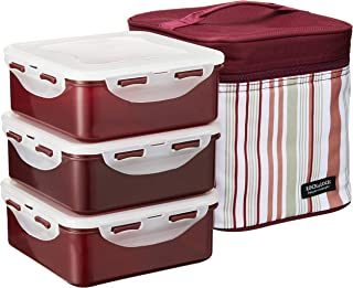 LOCK & LOCK Square Lunch Box 3-Piece Set with Insulated Stripe Bag, Purple
