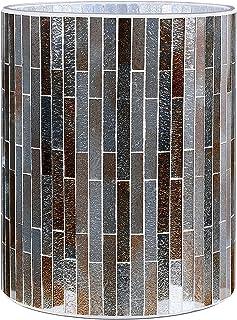 Vertical Stripe Mosaic Glass Decorative Wastebasket/Trash Can/Garbage Can for Bathroom, Kitchen, Bedroom, Office Decoration - Amber Color (Wastebasket only)