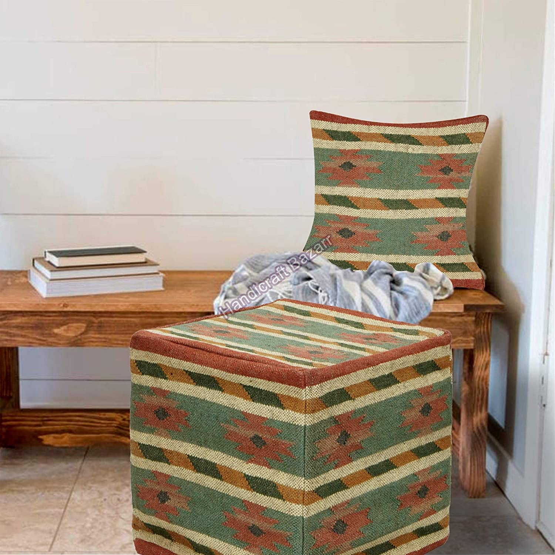 Japan's largest assortment Handicraft Bazarr Ottoman Bedding Pillow Pou Handwoven sold out Jute Case