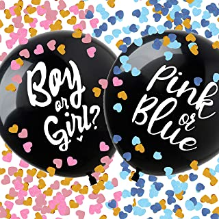 """FUKUGAWA Baby Gender Reveal Confetti Balloon 36Inch with 2 kinds of design """"Boy or Girl?"""" """"Blue or Pink""""-Baby Shower Gende..."""