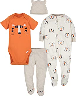 Baby Boys' 4-Piece Sleep 'N Play, Onesies, Pant and Cap