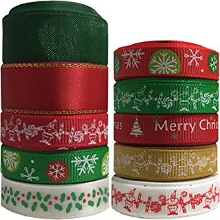 Duoqu Christmas Ribbon 10 Styles 42 Yards Mixed Style/Size ( 8x4.5yd+2x3yd=42yds, 3/8