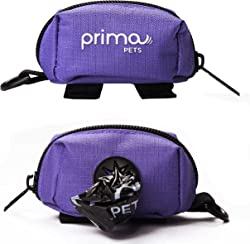 Prima Pets Dog Poop Bag Holder Leash Attachment, Waste Bag Dispenser, Lightweight Fabric, Walking, Running or Hiking Accessory