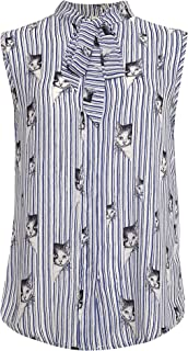 LaVieLente Women's Chiffon Animal Pattern Sleeveless Bow Tie Collar Button Down Blouse Shirt for Work Casual Tops