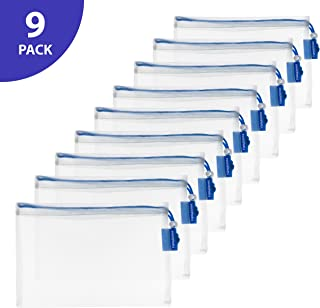 Vandoona Reusable Mesh Produce Bags – Set of 9, Food-safe Strong See-Through Bags for Fruits, Veggies, Fridge Organizing, Toys & Books. Blue Drawstring & Tare Weight Tag | 12-Inch x 8-Inch