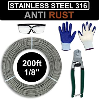 AZEXCEL 1/8 Stainless Steel Cable Railing Kit. Wire Rope for Deck Railing Systems, DIY, Decking, Trellis etc. 7x7 Braided Construction Aircraft Cable with Cutter. Marine Grade SS316