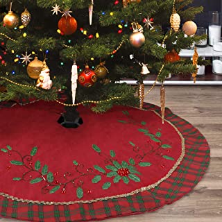 Christmas Tree Skirt - 48 inch Large Red Green Christmas Tree Skirt with Holly Leaves, Shiny Accessories and Red Green Tartan Cuff for Family Holiday Christmas Party Decorations Indoor Outdoor