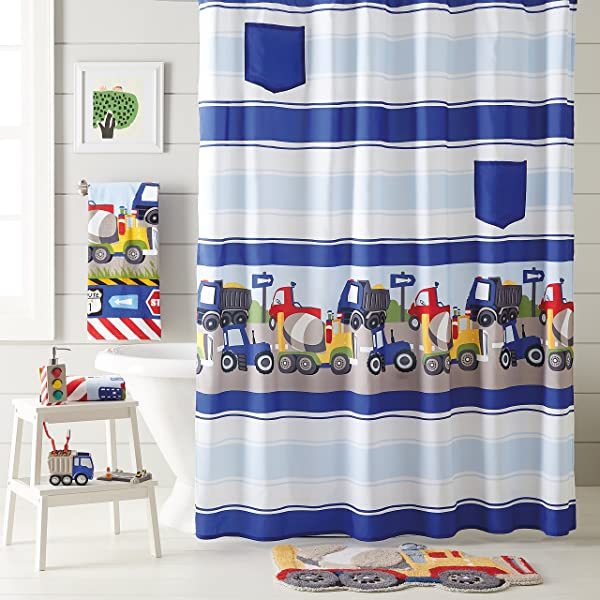 梦想工厂火车和卡车 4 件装浴帘毛巾浴毯配件套装灰色