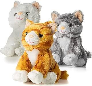 Prextex 10-Inch-Tall Realistic Looking Big Plush Stuffed Animals Cats Pack of 3