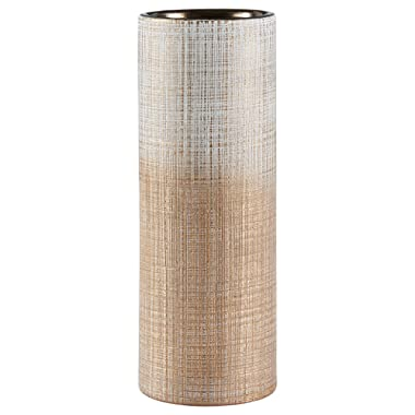 Amazon Brand – Rivet Rustic Stoneware Indoor Outdoor Flower Plant Home Decor Tall Cylinder Vase, 11 H, Bronze