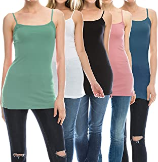 50a189d7814 Nolabel Multi Pack Womens Basic Long Length Adjustable Spaghetti Strap Cami  Tank Top Camisole Plus (