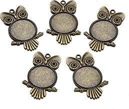 Beadthoven 10pcs Owl Pendant Vintage Tibetan Style Alloy Pendants Cabochon Bezel Fit Flat Round Tray in 25mm for jewelry Making Necklaces Accessories (Nickel Free & Antique Bronze)