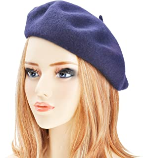 ZLYC Wool Beret Hat Classic Solid Color French Beret for Women by 36e9c3c46ed8