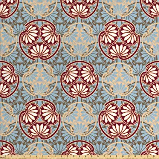 Ambesonne Japanese Fabric by The Yard, Oriental Flower Pattern with Traditional Influences Cultural Design Elements, Decorative Fabric for Upholstery and Home Accents, 1 Yard, Blue Beige