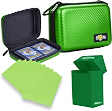 Totem World Card Case with Deck Box Protector and 100 Card Sleeves - Compatible with Pokemon, Yu-Gi-Oh, and Magic The Gathering Cards - Kid Safe Zipper Carrying Organizer - 500 Card Holder
