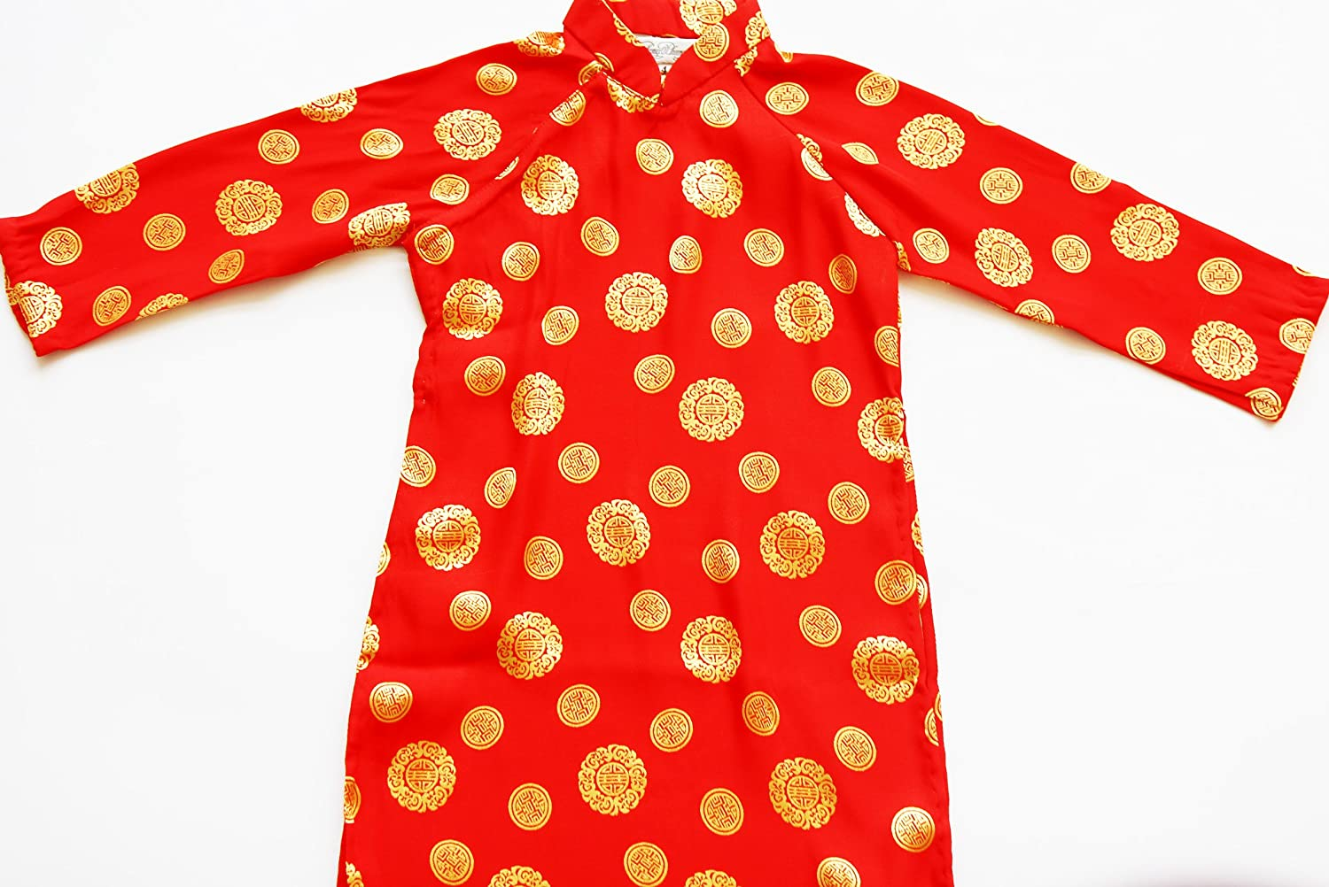 Ao Dai Import Vietnamese Traditional Dress Popular product for Red - Silk Girls Size