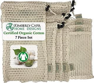 ZERO WASTE ORGANIC COTTON MESH REUSABLE PRODUCE BAG SET | Premium Washable Bags for Fresh Fruits & Vegetables | Compostable, Biodegradable | Sustainable Alternative to Plastic Bags | 4 Sizes | 7 Bags