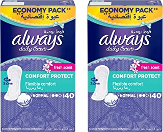 Always Daily Liners Comfort Protect Normal Fresh Scent 40 Count Dual Pack