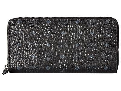 MCM Visetos Original Zip Around Wallet (Black) Wallet Handbags