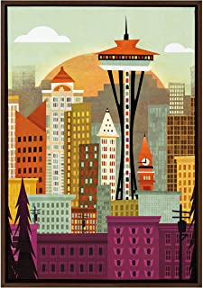 Kate and Laurel Sylvie Seattle Skyline Framed Canvas Wall Art by Amber Leaders, 23x33 Walnut, Beautiful City Skyline Wall ...